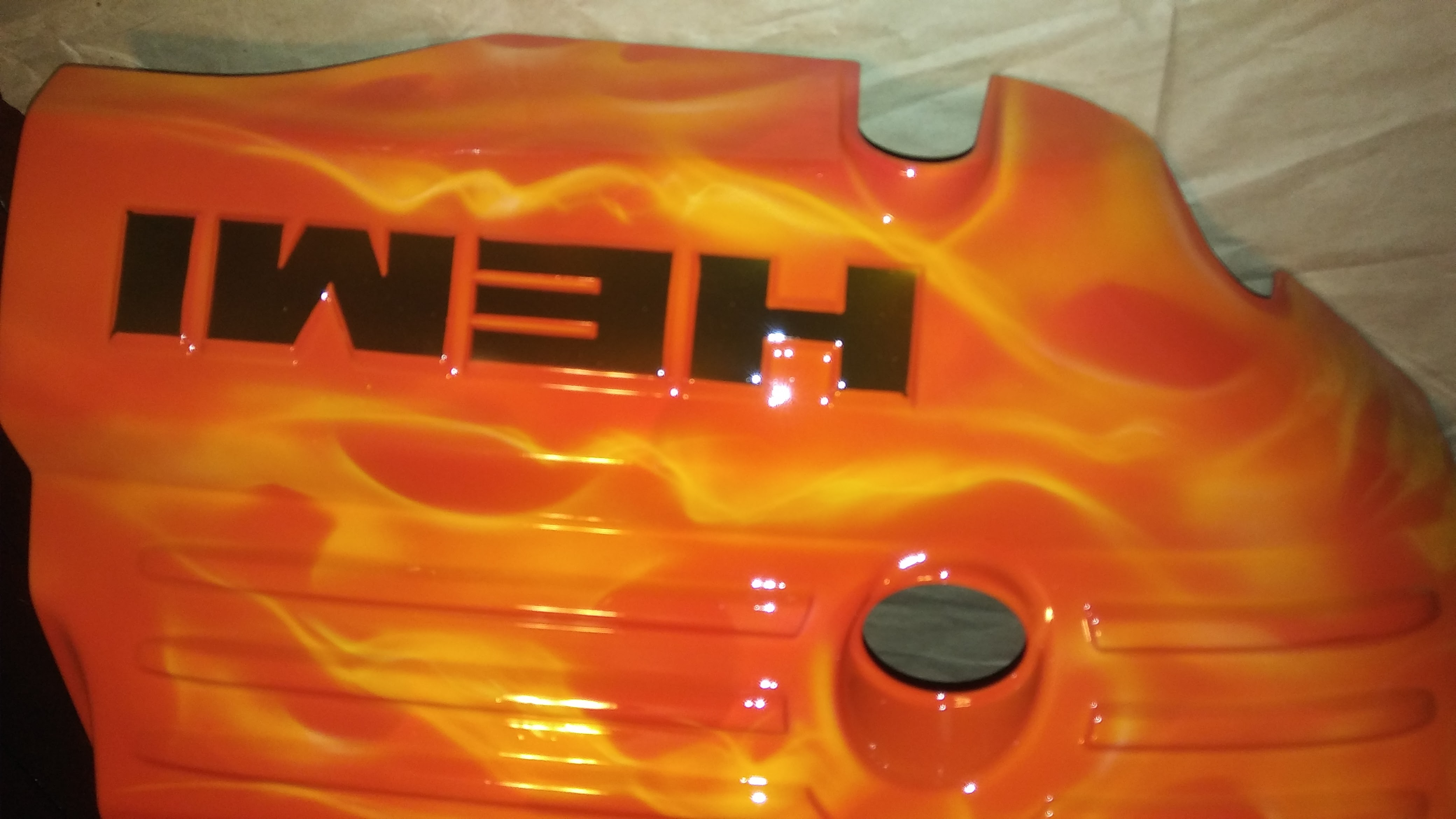 engine cover flames custom paint