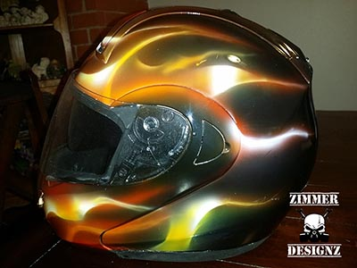 flames custom airbrushed motorcycle helmet