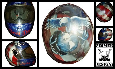 marine helmet custom painted eagle, globe and anchor