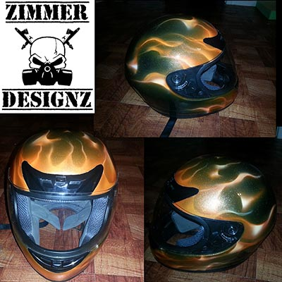orange metal flake flamed helmet
