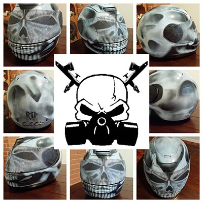 skull helmet full face custom paint