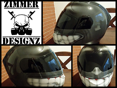 grey Smiles Helmet custom painted with huge smile and teeth