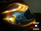 Real fire flamed out helmet
