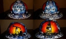 blue white and black oilfield trash designed hard hat