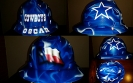 blue dallas cowboys hard hat with blue flames